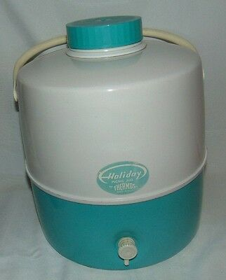 Vintage Holiday Picnic Jug by Thermos Metal Enamel Turquoise White 2 Gallon
