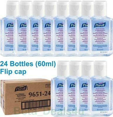 24 x hand Sanitizer gel 60ml bottle Purell Personal Travel Size FLIP CAP alcohol