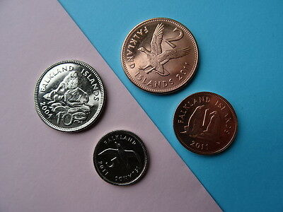Falkland Islands coins - nice UNC coins - collection of 1, 2, 5 + 10 pence NEW