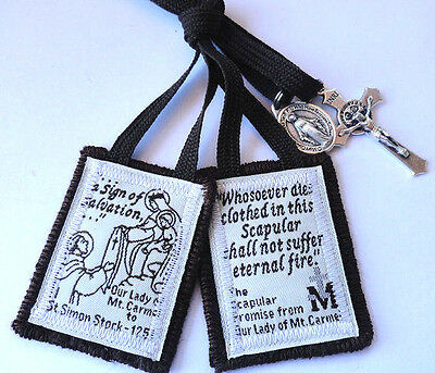 Traditional Catholic Scapular All edges sewn No fraying 100% Brown Wool + medals