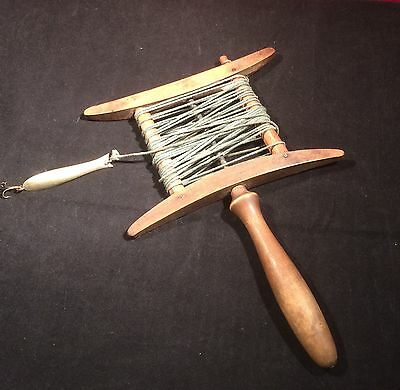 Antique Early 20th Century Treen Wood Wooden Hand Fishing Line and Lure