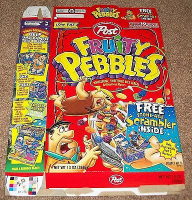 1998 Post Flintstones Fruity Pebbles Cereal Box Flat Stone-Age Scrambler Artwork