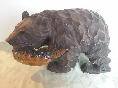Wood Carving Bear with Fish in Mouth ~ Hand Carved Japanese