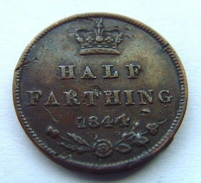 Victorian 1/2 Farthing Coin Dates To 1844