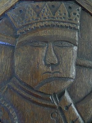 16th Century Carved Oak King Panel