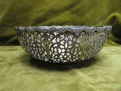 Early 20th c persian solid silver (875) islamic ottoman openwork fruit bowl 414g