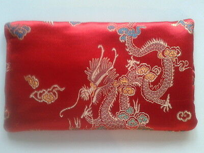 Yoga Silk Eye Pillow relaxation Chinese Design dragons and peacocks multi-color