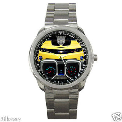 New Chevrolet Camaro Bumblebee with Logo and Speedometer Style Sport Metal Watch