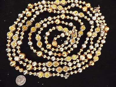Antique Vintage Double Indent Mercury Glass Garland Gold & Silver 90""