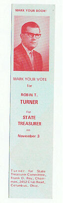 Vintage 1970 Robin T Turner Bookmark Ohio State Treasurer Political Campaign Ad