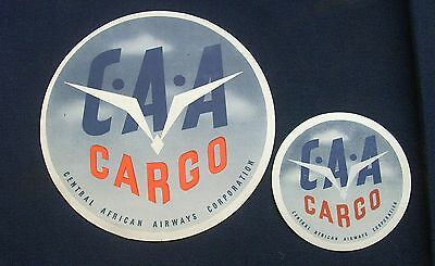 Two Vintage Original Central African Airways Cargo Labels/Sticker C1940/50s