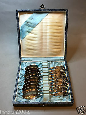 VINTAGE ANTIQUE RUSSIAN 875 STERLING SILVER 10 SPOONS SET 197 gr WITH BOX