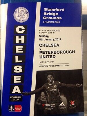CHELSEA v PETERBOROUGH UTD OFFICIAL New MINT PROGRAMME 8/1/2017 FA CUP