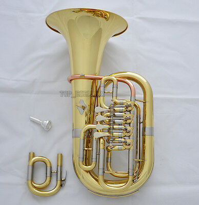 Professional Gold 4 Rotary Valves Euphonium C/Bb Keys Horn 11.6''Bell With Case