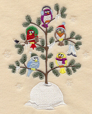 Embroidery quilt block, frosty,owls,fabric,cushion panel,machine,wall art,owl