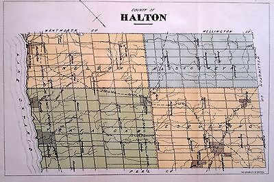 Halton County Ontario Canada Rare 1881 orig map Ont Agricultural Commission
