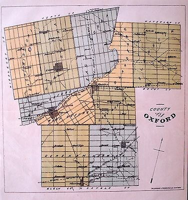 Oxford County Ontario Canada Rare 1881 orig map Ont Agricultural Commission