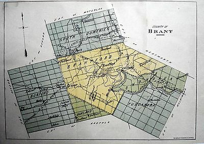 Brant County Ontario Canada Rare 1881 orig map Ont Agricultural Commission