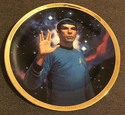 "STAR TREK 25th ANNIVERSARY PLATE OF ""SPOCK"" -  HAMILTON COLLECTION 1991 with COA"