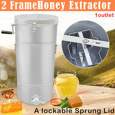 New Two 2 Frame Stainless Steel Bee Honey Extractor SS Honeycomb Drum