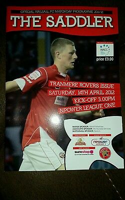 Walsall V Tranmere Rovers 2011 /12 Match programme