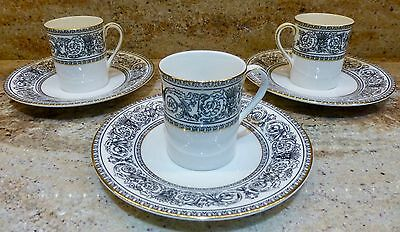 Set Of 3  Royal Doulton  Baronet H 4999 - Demitasse Cups & Saucers   Brown Mark