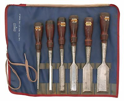Full Set of Stanley No. 750 Bevel Edge Chisels -1/4 Inch to 1 1/2 -Original Roll