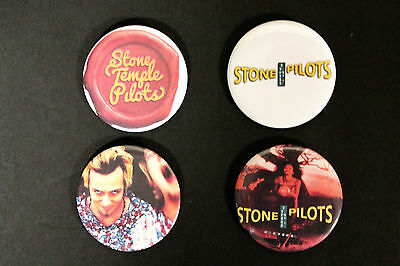 Rare Set Of (4) Large «Stone Temple Pilots (Scott Weiland)» Pin Back Buttons 2¼""