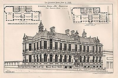 1881 Antique Architectural Print-Liverpool School Of Art Competition, First Desi