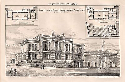 1881 Antique Architectural Print-Liverpool-Second Design For School Of Art