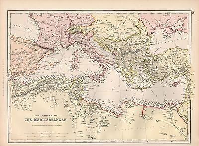 1882 Large Antique Map - Shores Of The Mediterranean
