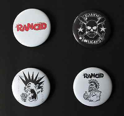 Rare Set Of (4) Large «Rancid» Pin Back Buttons 2¼""