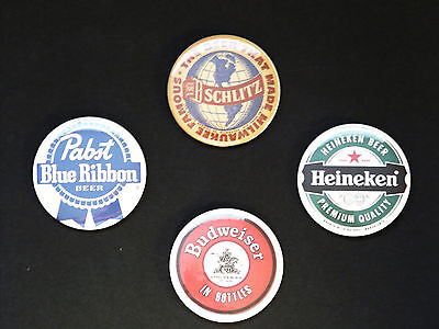Rare Set Of (4) Large «Vintage Beers» Pin Back Buttons 2¼""