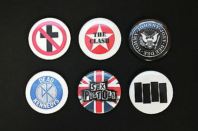 "Rare Set Of (6) Large «Punk» Pin Back Buttons 2¼"" Ramones, Bad Religion, Clash"