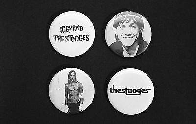 Rare Set Of (4) Large «Iggy Pop (And The Stooges)» Pin Back Buttons 2¼""