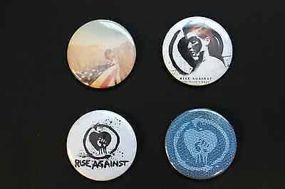 Rare Set Of (4) Large «Rise Against» Pin Back Buttons 2¼""