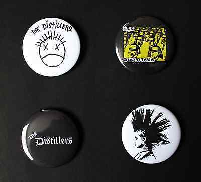 Rare Set Of (4) Large «The Distillers» Pin Back Buttons 2¼""