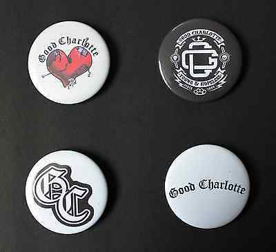Rare Set Of (4) Large «Good Charlotte» Pin Back Buttons 2¼""
