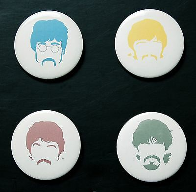 Rare Set Of (4) Large «The Beatles Silhouette» Pin Back Buttons 2¼""