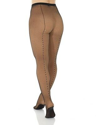 New Cabaret Fishnet Tights With Rhinestones Footed Mondor 00328 Black AS - M