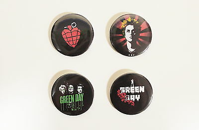 Rare Set Of (4) Large «Green Day» Pin Back Buttons 2¼""