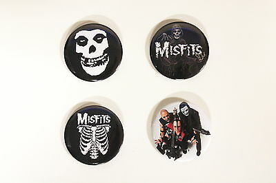 """Rare Set Of (4) Large «Misfits» Pin Back Buttons 2¼"""""""
