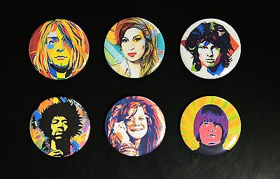 Rare Set Of (6) Large Pop Art «27 Club» Pin Back Buttons 2¼""