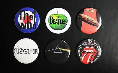 Rare Set Of (6) Large «Legendary Bands» Pin Back Buttons 2¼""