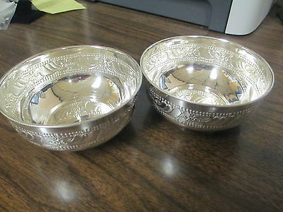 2 Sterling Silver Bowls Beautiful Patterns Made By Sk Jewelers 102.2 Grams