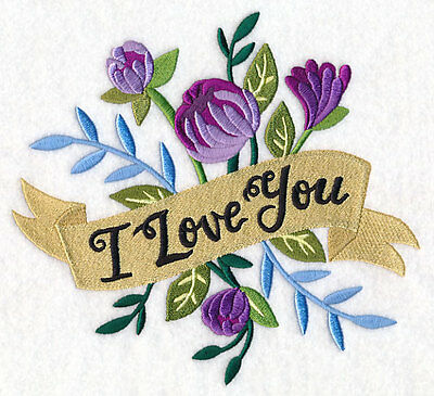 Large Embroidery quilt block,cushion panel,wall art, machine,quilt,I love you