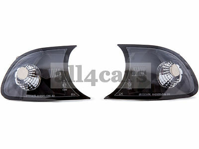 Bmw 3 E46 2001 - 2003 Cabrio Coupe Front Crystal Black Indicator Pair O/s & N/s