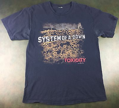 Unisex Adult 2001 System of a Down Toxicity Concert Heavy Metal Tour T-Shirt S/M