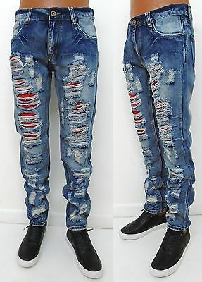 Men ROGUE Blue Vintage Distressed shredded slim straight jeans style ROGUE-01