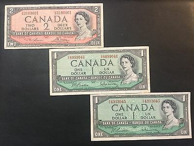 1954 Canada Paper Money - Lot Of 3 Banknotes !